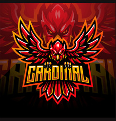 Cardinal esport mascot logo design vector