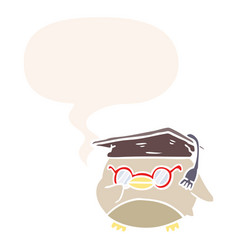Cartoon clever old owl and speech bubble in retro vector