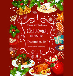 Christmas dinner invitation with festive dishes vector