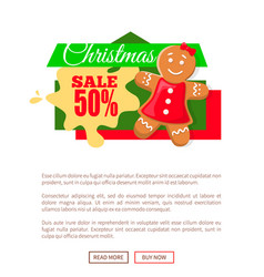christmas sale 50 percent gingerbread woman poster vector image