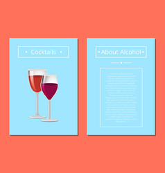 cocktails about alcohol posters with two glasses vector image