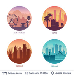 collection of famous city scapes vector image