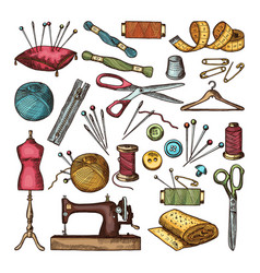 Colored pictures of different tools for needlework vector