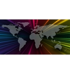 Colorful 3d background with dotted world map vector