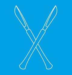Crossed surgeon scalpels icon outline style vector