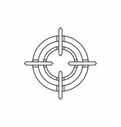 Crosshair reticle icon in outline style vector image