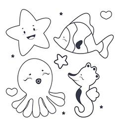 Cute sea characters coloring book vector