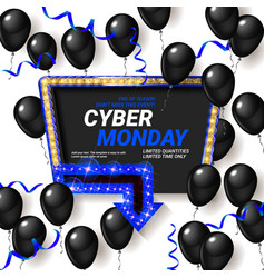 cyber monday sale poster with shiny balloons vector image