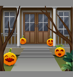 Decoration in front of the house on halloween day vector