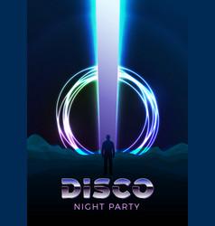 disco poster design template in 80s retro vector image