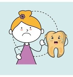 Diseased tooth girl isolated icon design vector