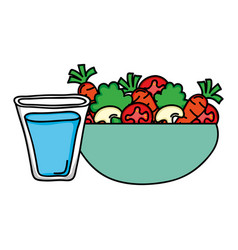 dish bowl with vegetables salad and water glass vector image