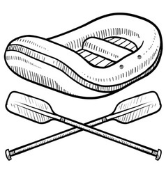 doodle rafting logo vector image