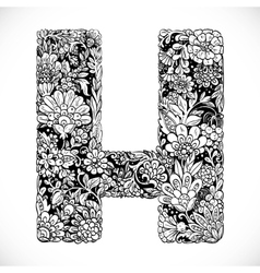Doodles font from ornamental flowers - letter H vector
