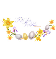 Easter watercolor arc with daffodil and iris vector