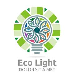Eco light bulb design colorful icon vector