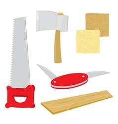 Equipment handcraft saw axe penknife vector