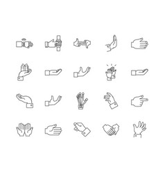 fingers line icons signs set outline vector image