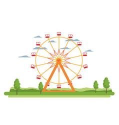 Funny ferris wheel mechanical carnival vector