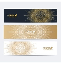 Geometric abstract banners with golden mandala vector