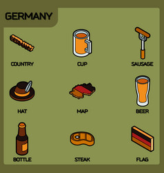 germany color outline isometric icons vector image