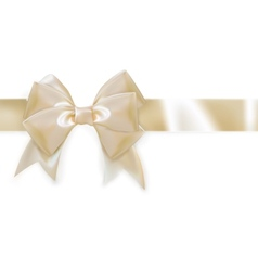 Gold ribbon with bow isolated on white EPS 10 vector image