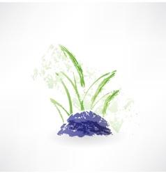 Grass grunge icon vector