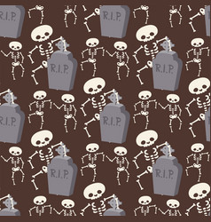 halloween skeleton seamless pattern background vector image