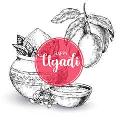 Happy ugadi template greeting card for holiday vector