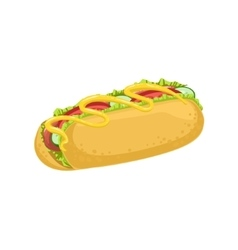 Hot Dog Street Food Menu Item Realistic Detailed vector