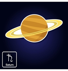 icons with Saturn and astrology symbol of planet f vector image
