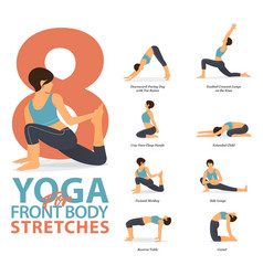 Infographic yoga poses for body stretches vector