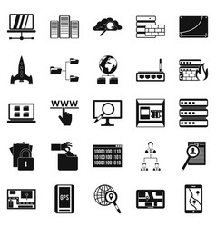 Internet protocol icons set simple style vector