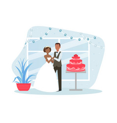 just married couple posing with holiday cake vector image