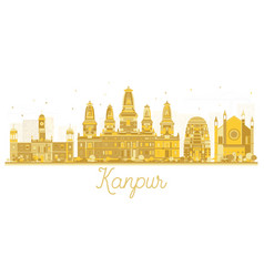 kanpur india city skyline golden silhouette vector image