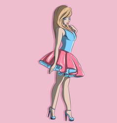 kawaii anime ballerina wearing high heels vector image