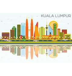 Kuala Lumpur Skyline with Color Buildings vector