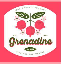 Label grenadine syrup vector