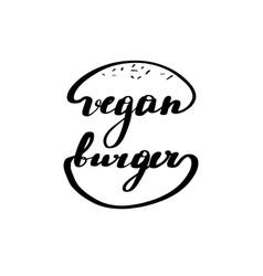 Lettering inscription vegan burger logo vector