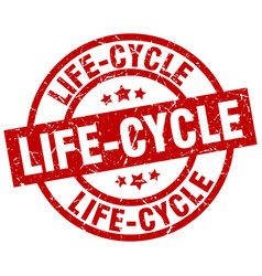 life-cycle round red grunge stamp vector image