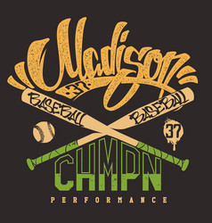 Madison baseball club print for sportswear vector