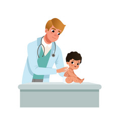 Male pediatrician examining infant with kid red vector
