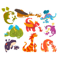 mature dragons and baby dragons set families of vector image