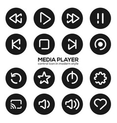 Media player control icon in modern style vector
