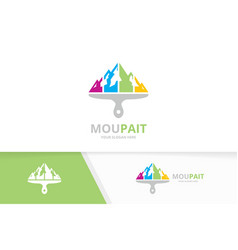 Mountain and brush logo combination nature vector