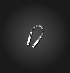 nunchaku weapon icon flat vector image