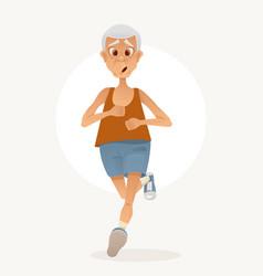 Old sporty happy grandpa character run vector