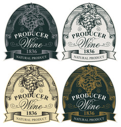 Ornate hand-drawn labels for wine with grape vector