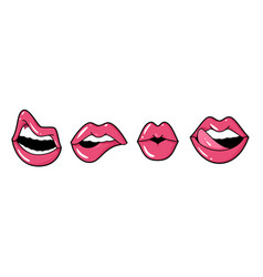 playful lips female mouth tongue and teeth vector image