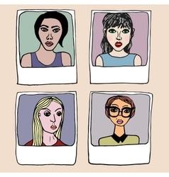 Portraits frame fashionable girls vector